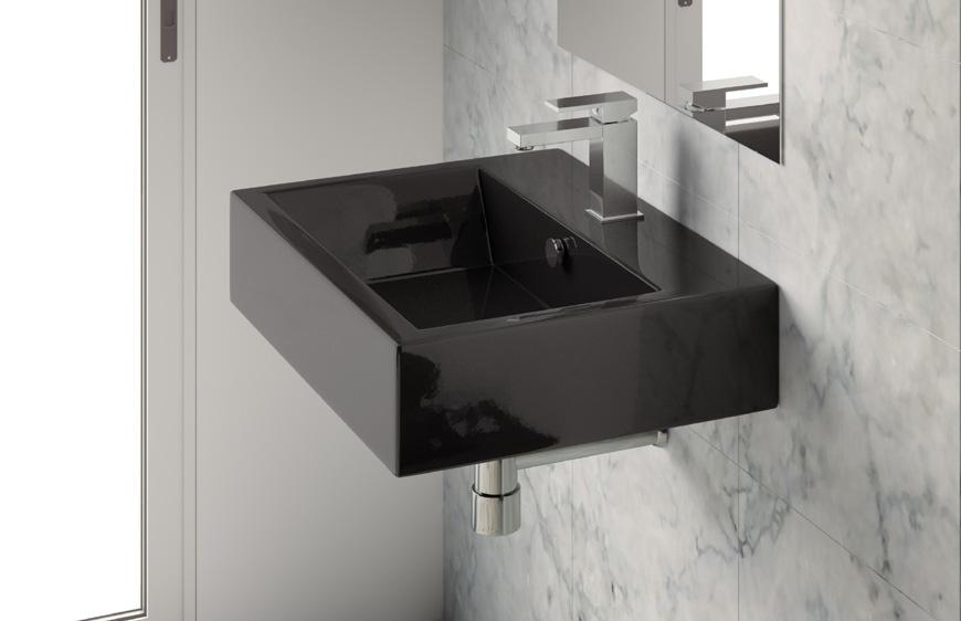 Lavabo 65 da appoggio sospeso nero loft - Lavabo nero bagno ...