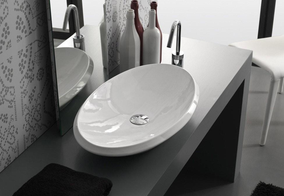 Lavabo da appoggio oval 70x41x10 for Lavabo da appoggio misure