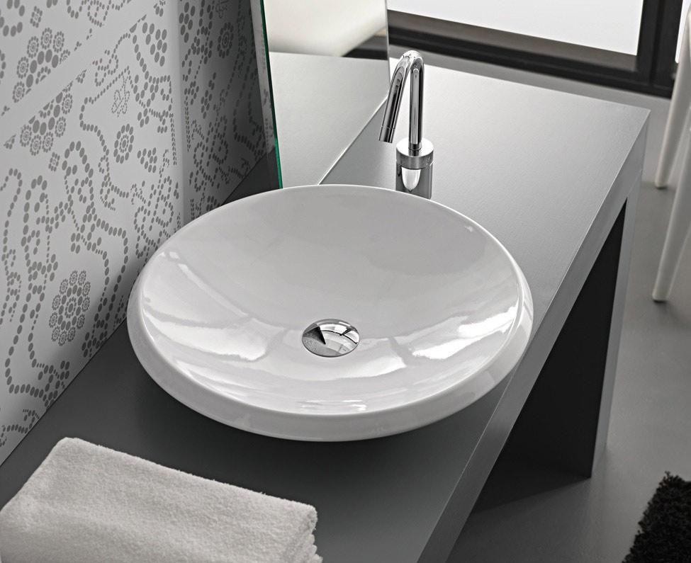 Lavabo da appoggio round 50x50x10 for Lavabo da appoggio misure