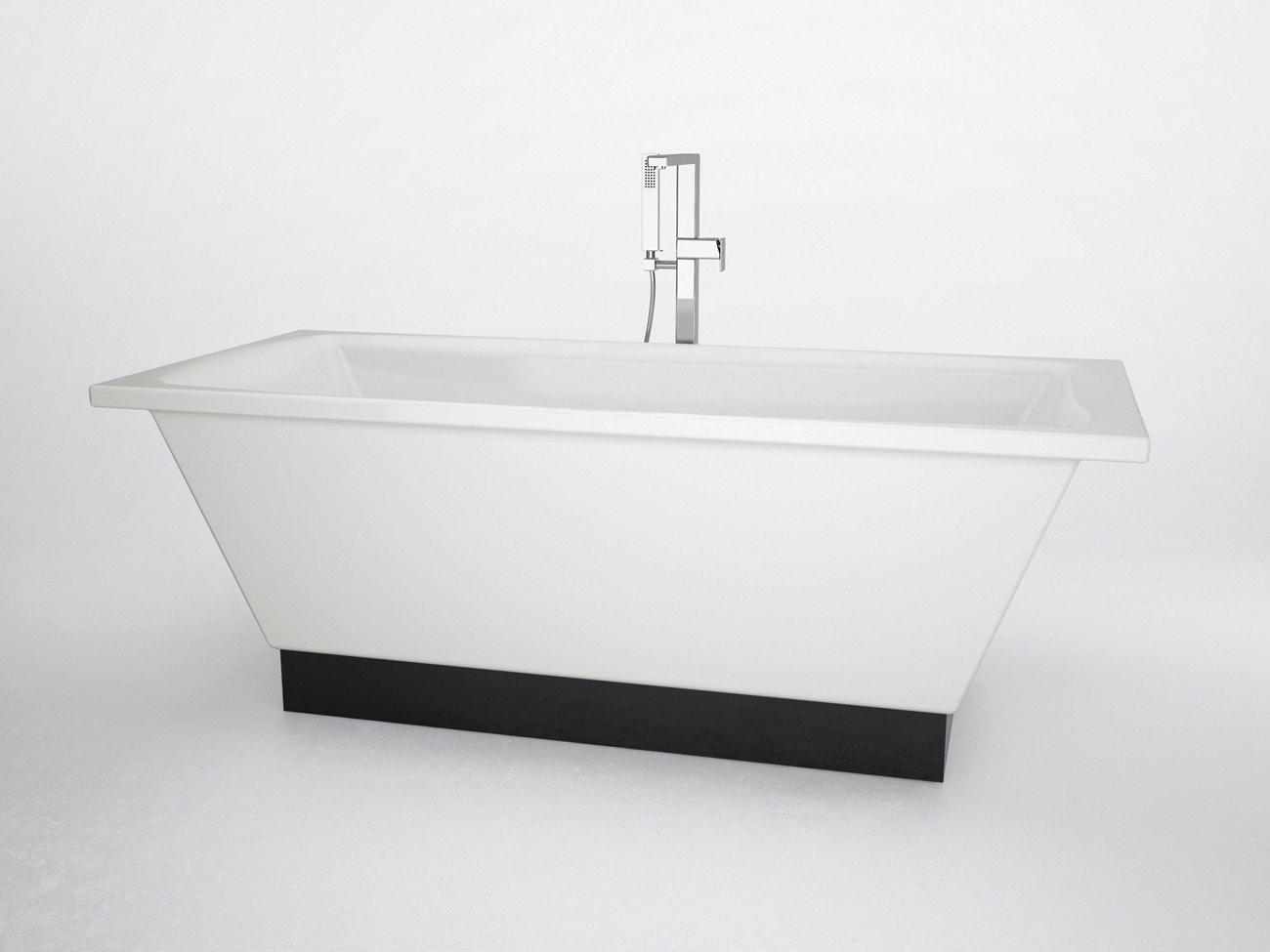 Vasca in christal tech bianca con base nera flat - Vasca da bagno nera ...